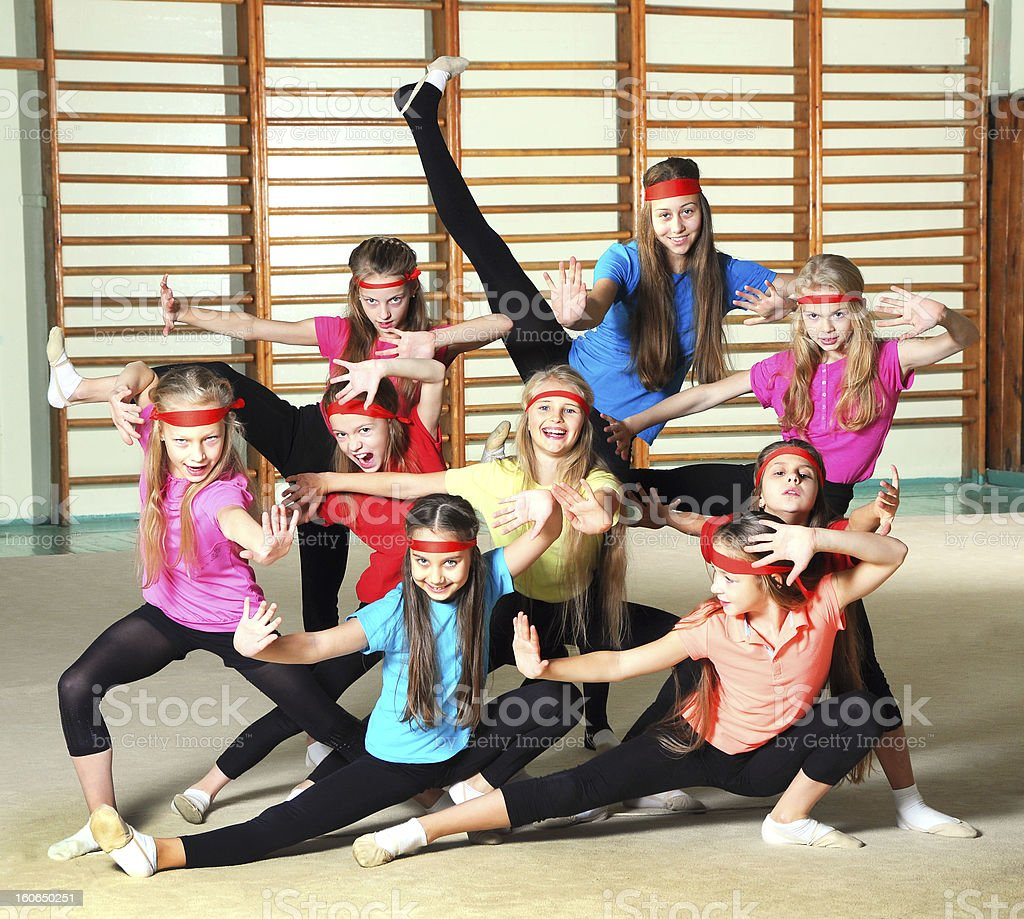 Girls in the gym royalty-free stock photo