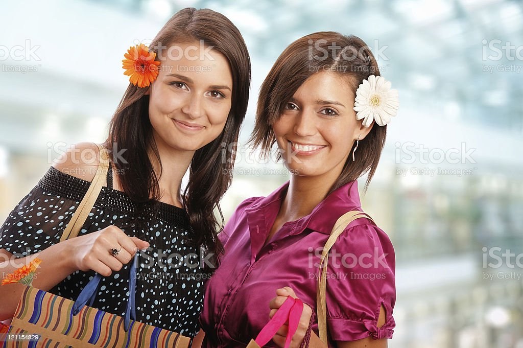 girls in the shopping mall royalty-free stock photo