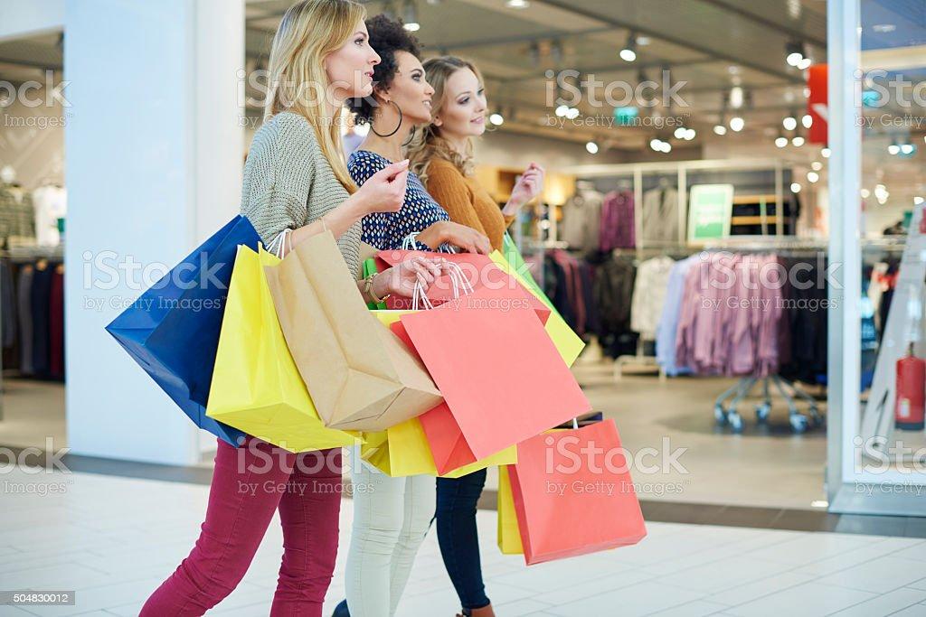 Girls love shopping so much stock photo