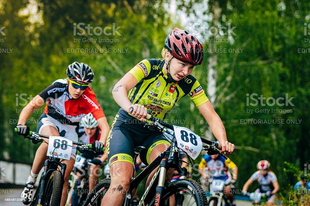 girls mountain bike stock photo