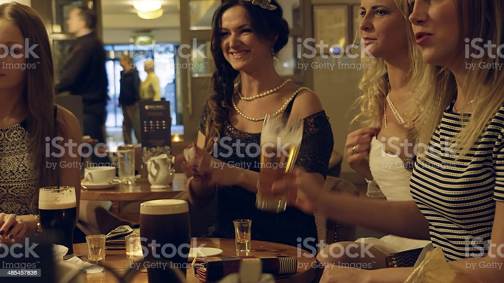Girls night out at a pub stock photo