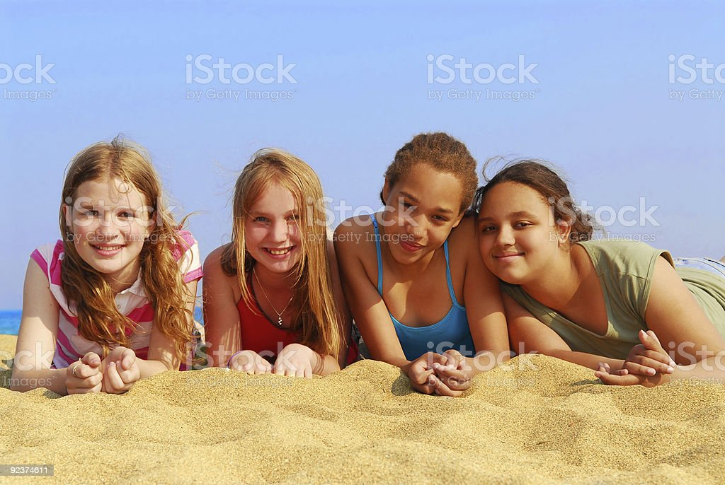 Girls on beach royalty-free stock photo