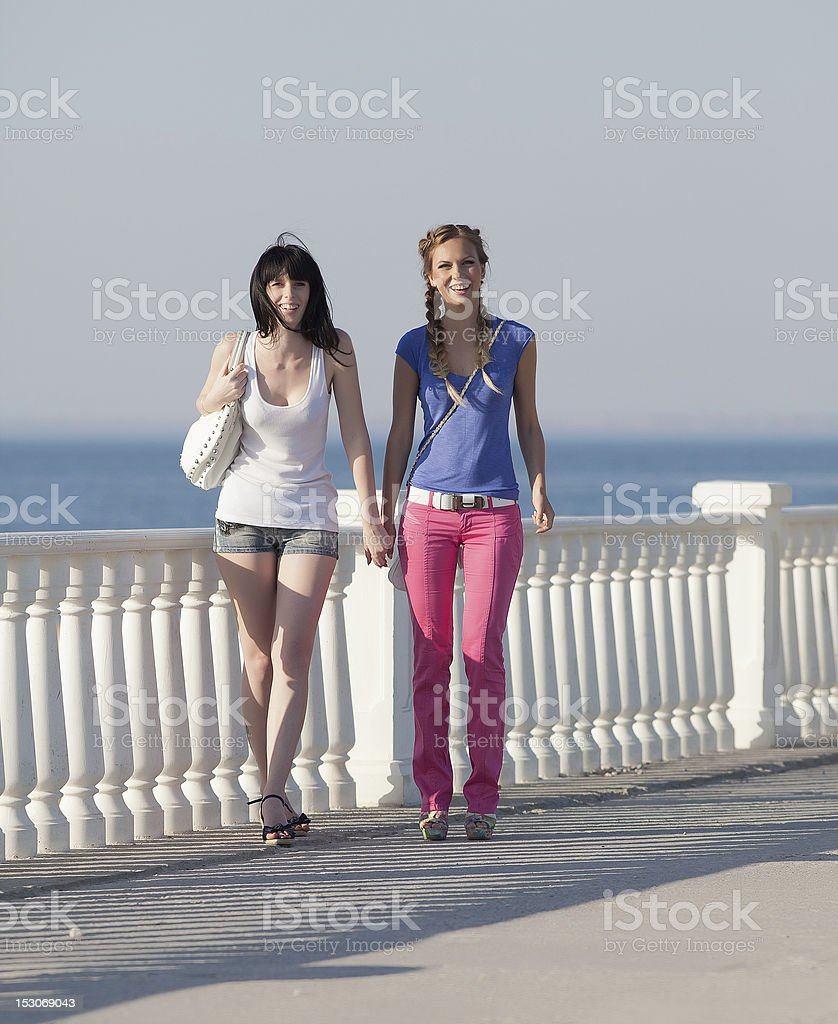 Girls on quay royalty-free stock photo