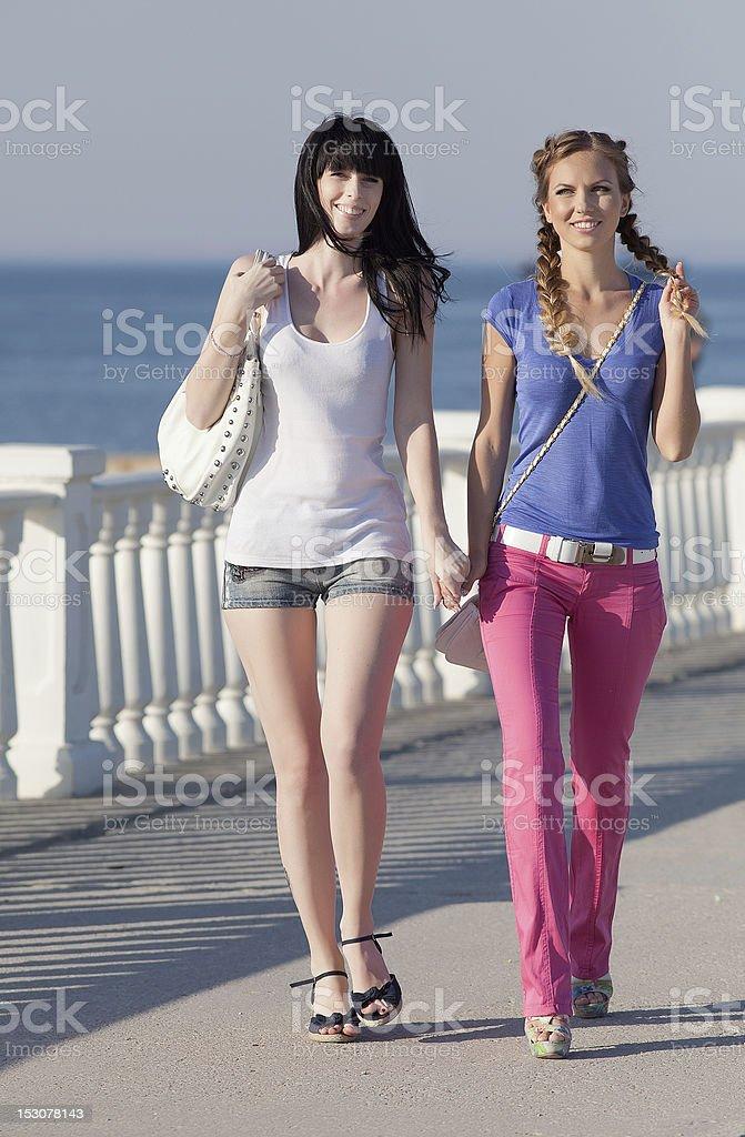 Girls on quay royalty-free stock photo