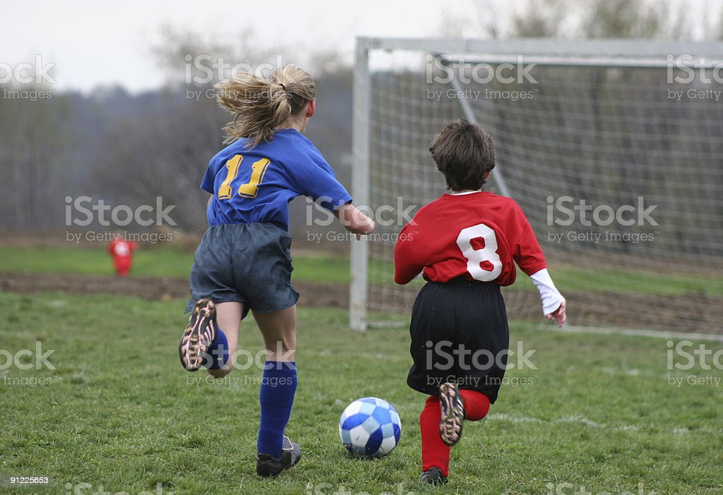 Girls on Soccer Field 15 royalty-free stock photo