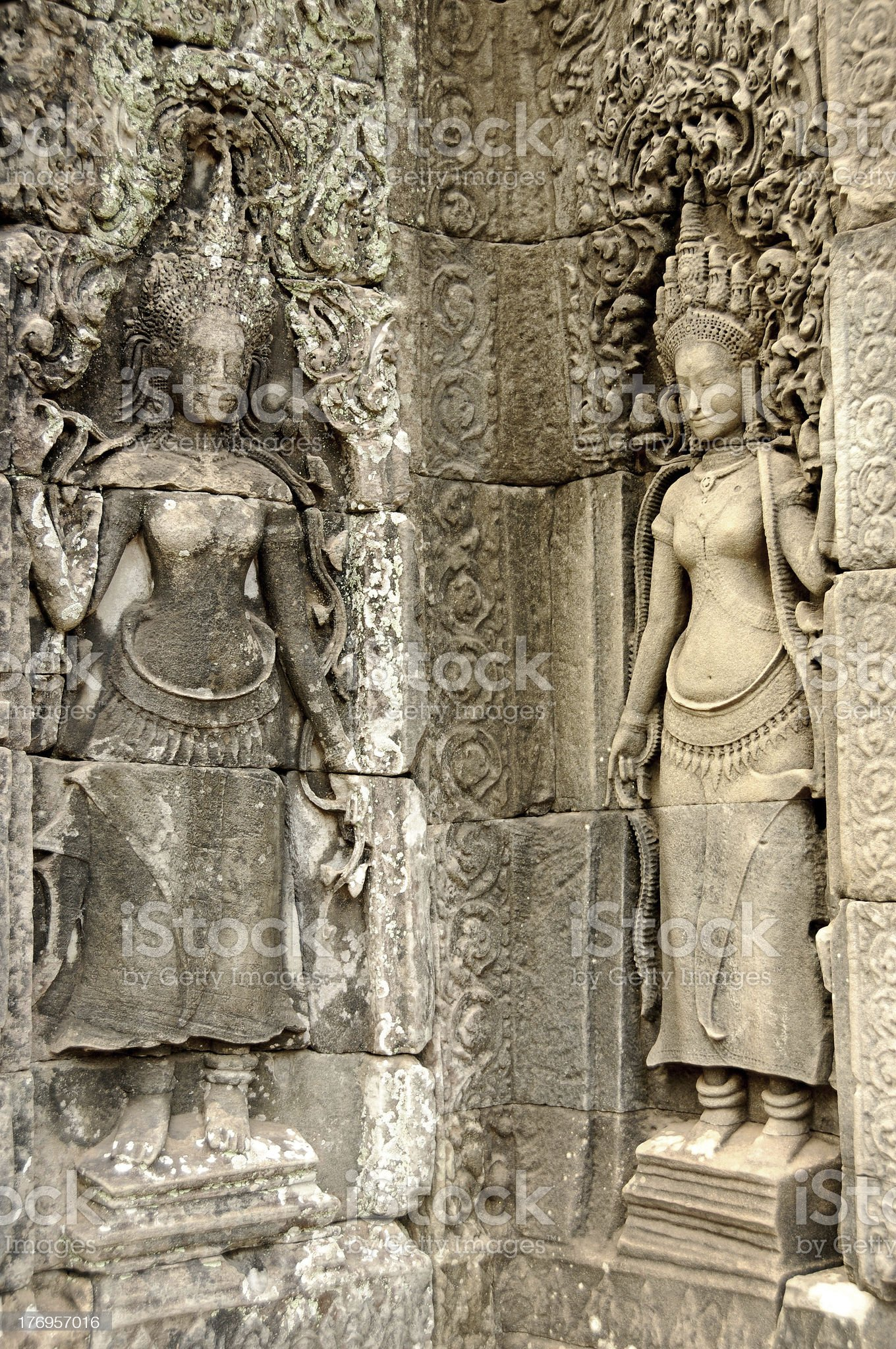 Girls on the all of Bayon temple, Angkor, Cambodia royalty-free stock photo