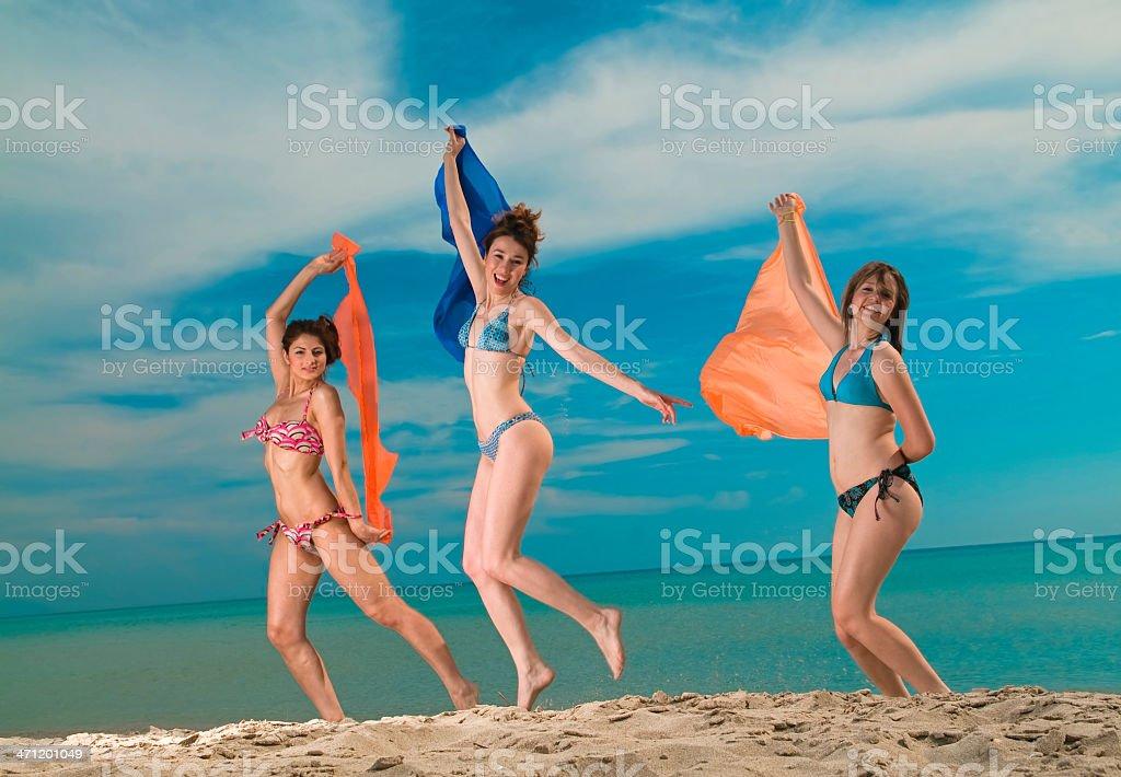 Girls on the beach royalty-free stock photo