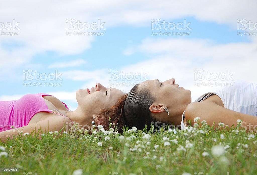 Girls on the meadow royalty-free stock photo