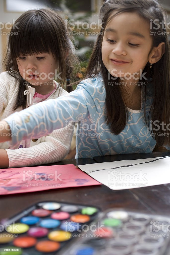 Girls Painting royalty-free stock photo