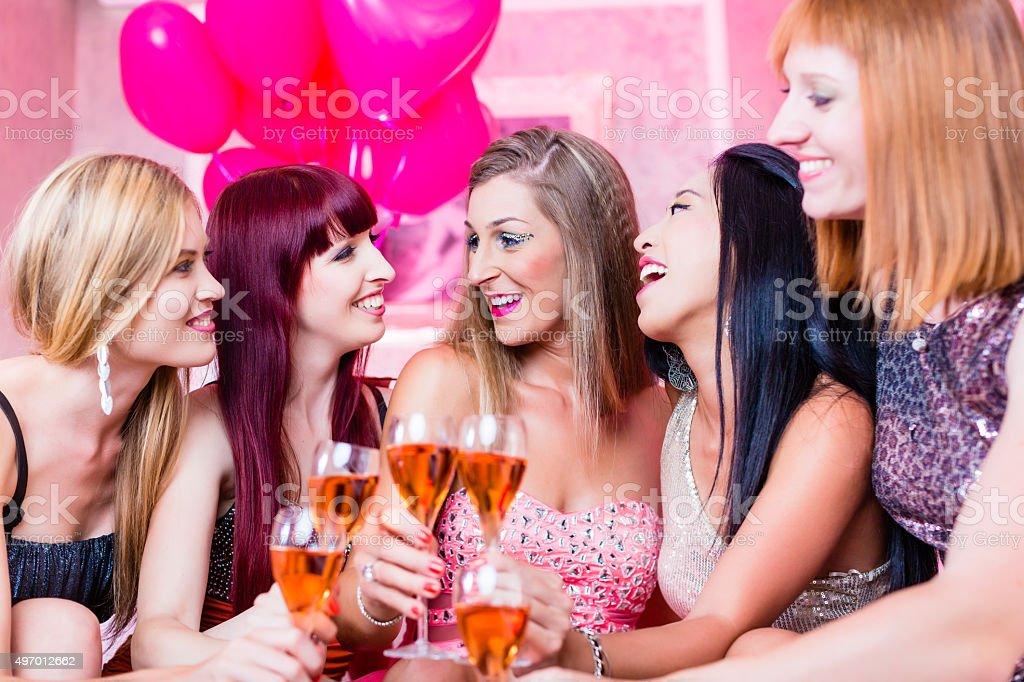 Girls partying in night club stock photo