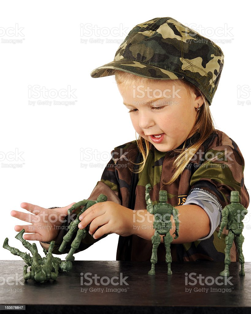 Girls Play Soldier Too stock photo