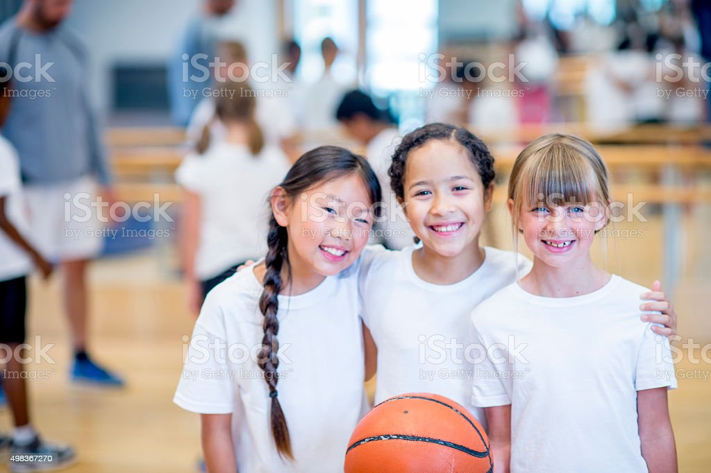 Girls Playing Basketball stock photo
