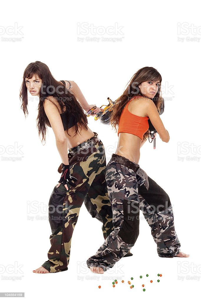 Girls playing paintball royalty-free stock photo