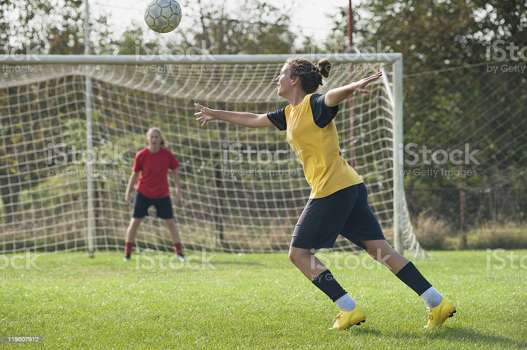 Girls playing soccer royalty-free stock photo