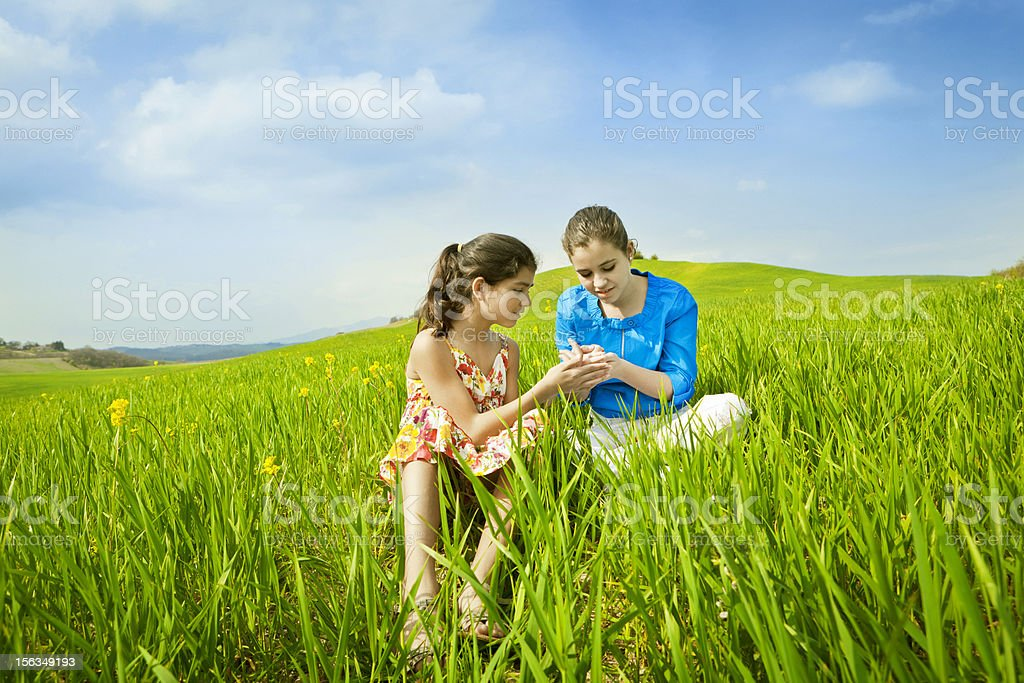 Girls playing with a ladybug royalty-free stock photo