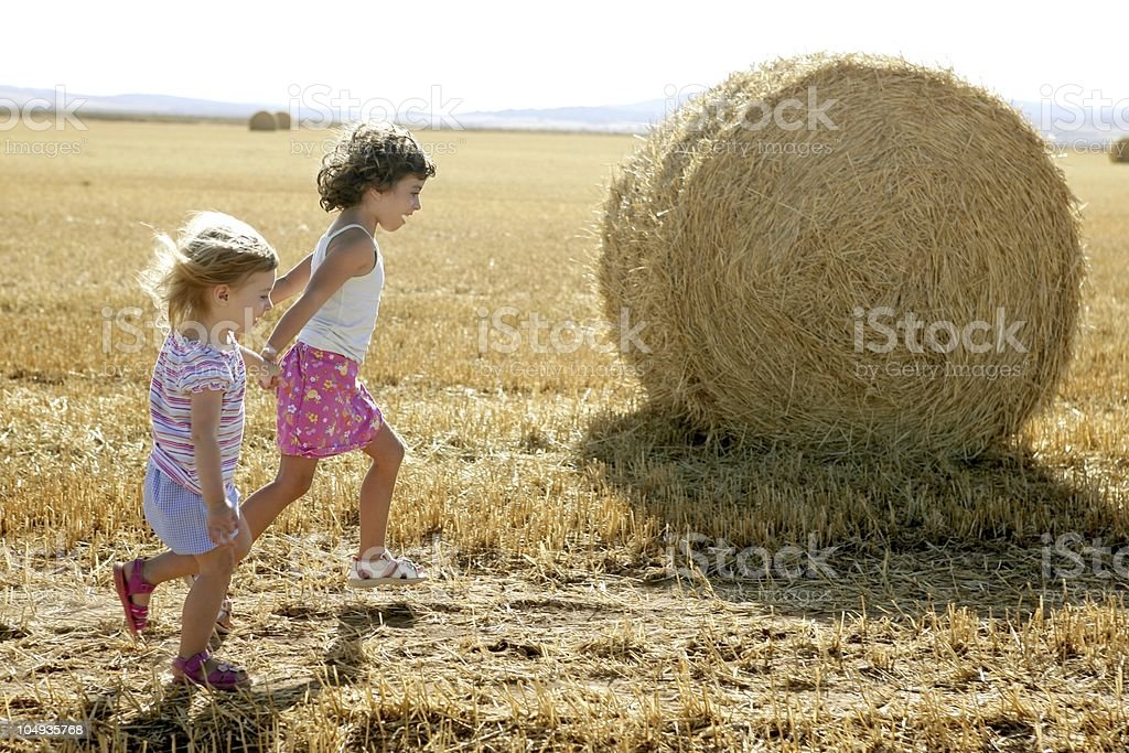 Girls playing with the round wheat dried bales royalty-free stock photo