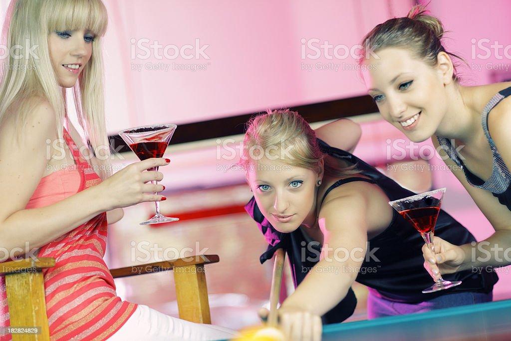girls plays biliard royalty-free stock photo