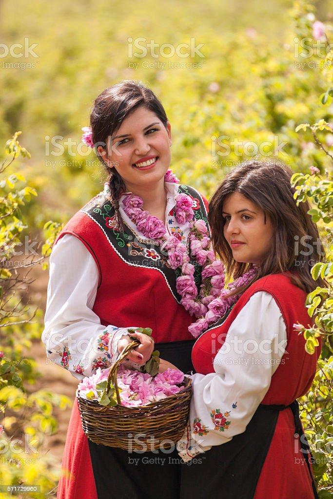 Girls posing during the Rose picking festival in Bulgaria stock photo