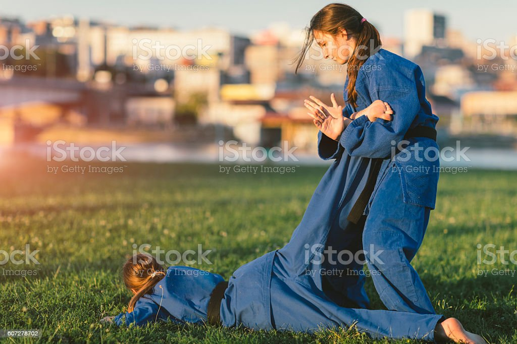Girls Practicing Aikido stock photo