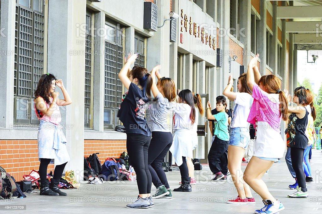 girls practicing dances stock photo