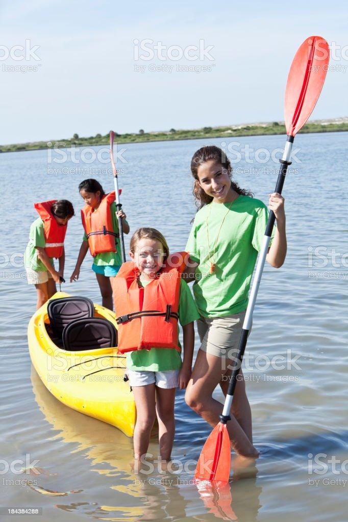 Girls ready for kayaking stock photo