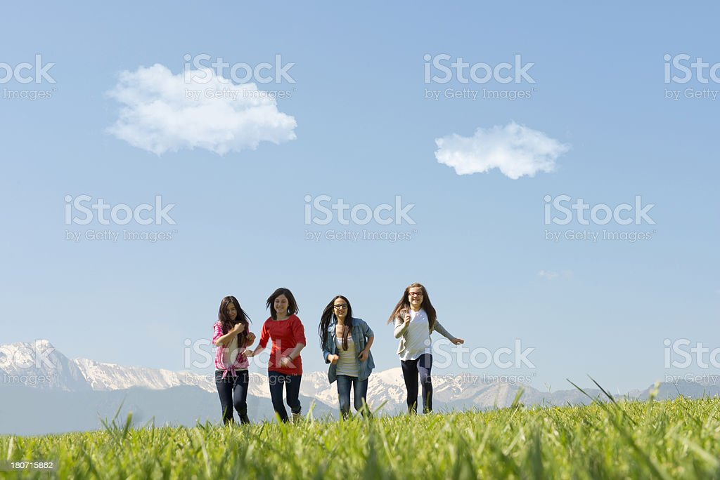 girls running royalty-free stock photo