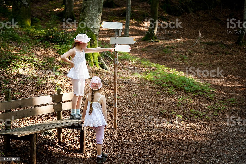 Girls seeking direction in the forest royalty-free stock photo