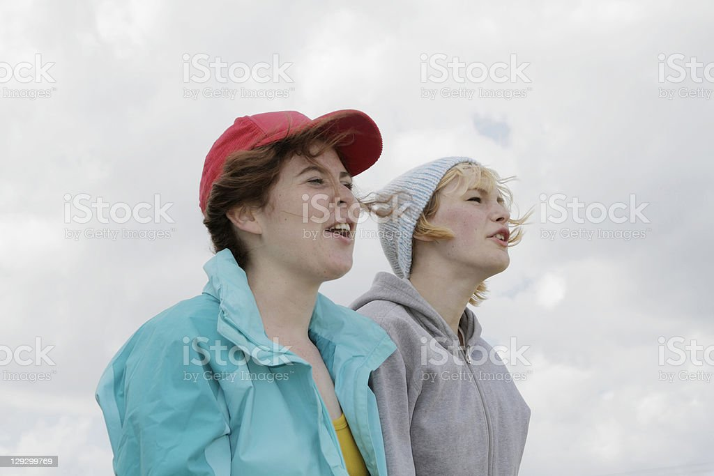 Girls shouting outdoors royalty-free stock photo