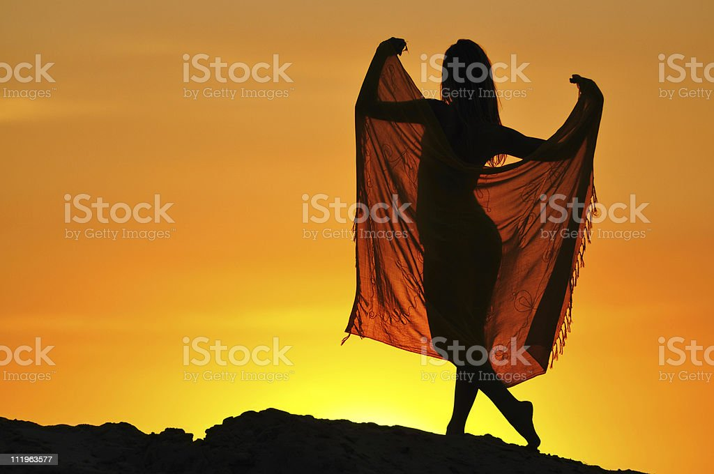 Girls silhouette royalty-free stock photo
