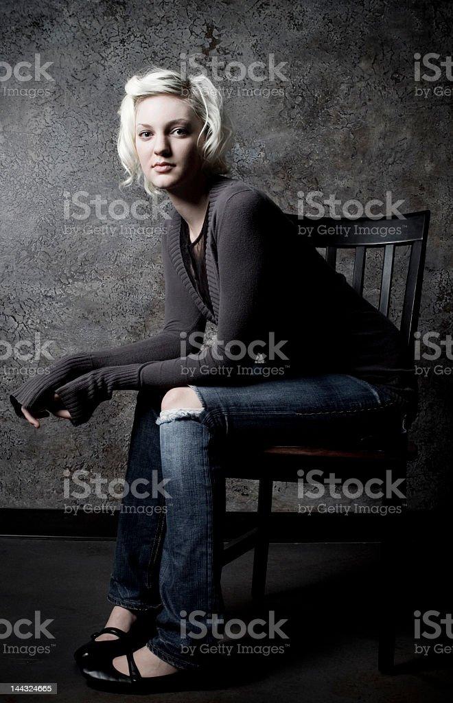 girl's sitting portrait royalty-free stock photo