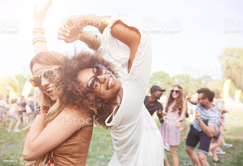 Girls spending great time outdoors stock photo