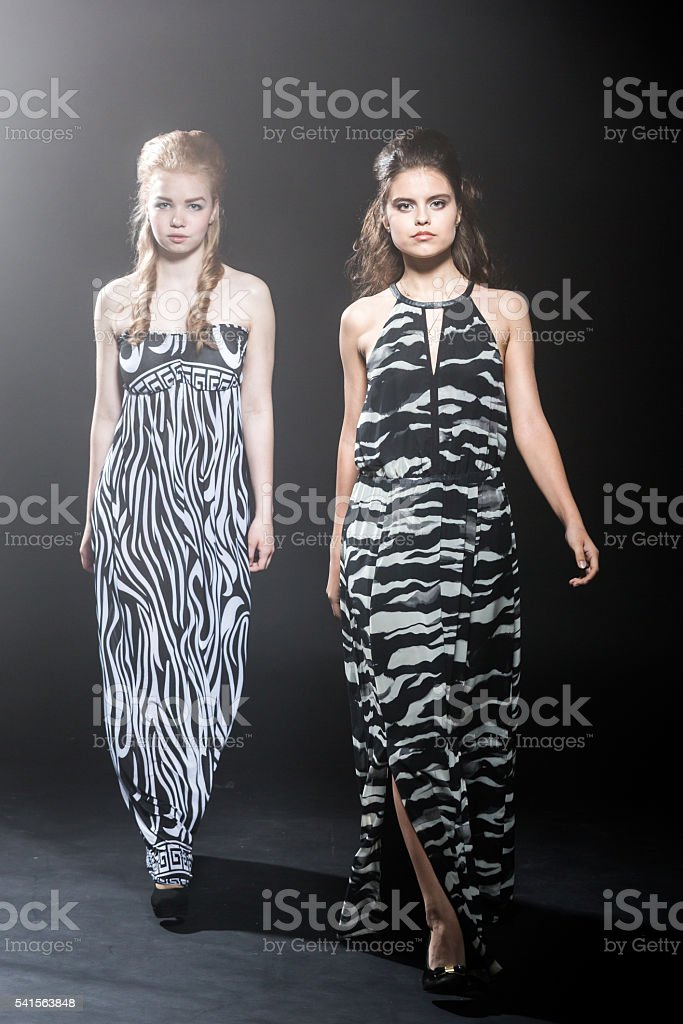 Girls Teenagers Zebra Fashion Models stock photo