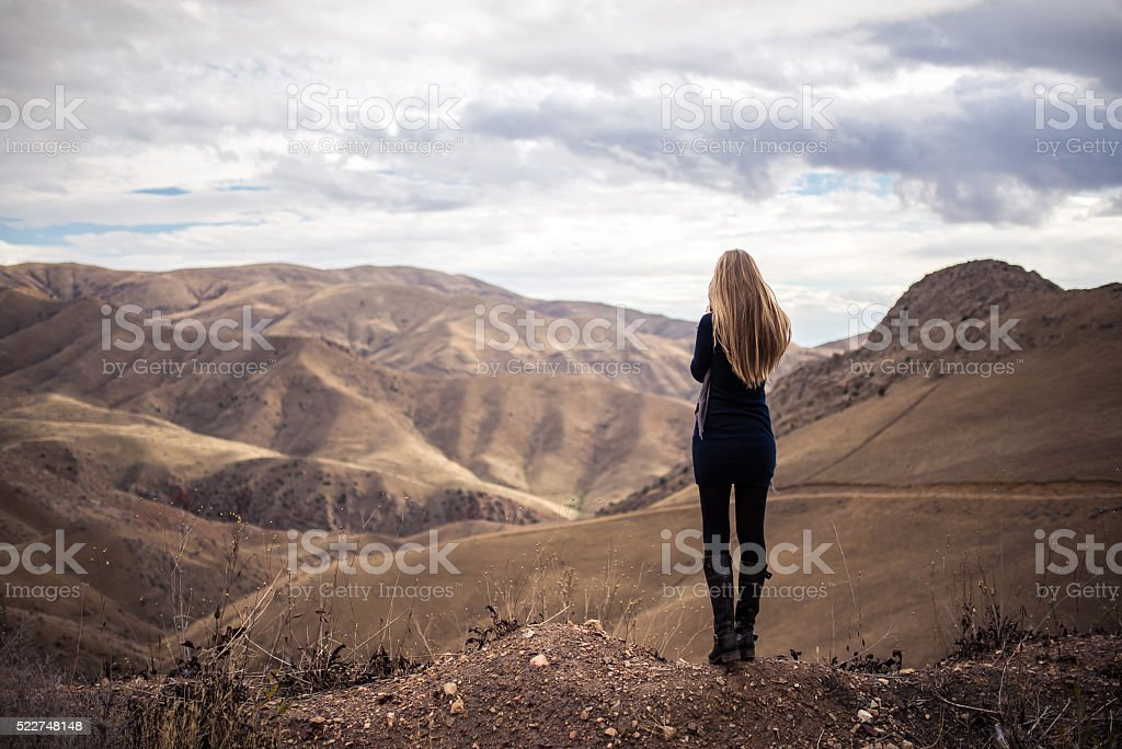 girls trip in the mountains stock photo