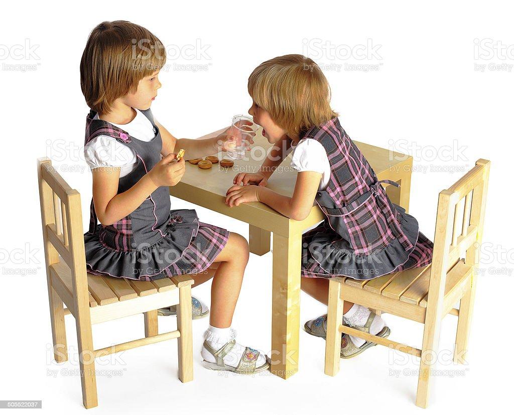 Filles de dessiner des twins photo libre de droits