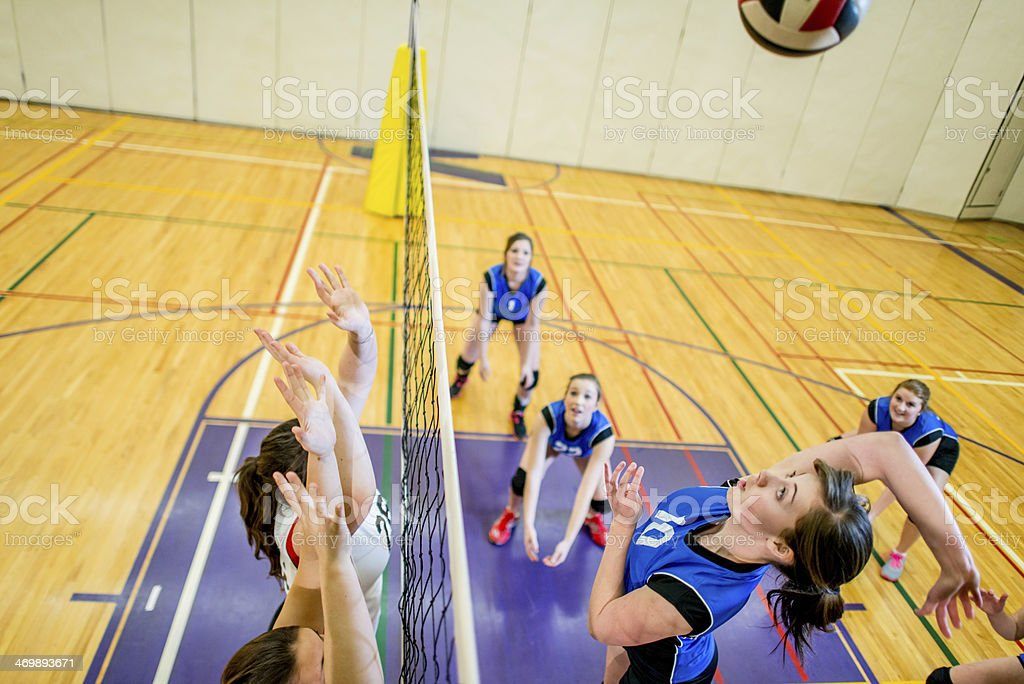Girls Varsity Volleyball royalty-free stock photo