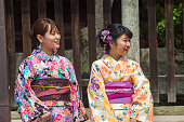 girls wearing kimono costume at street of  kyoto japan