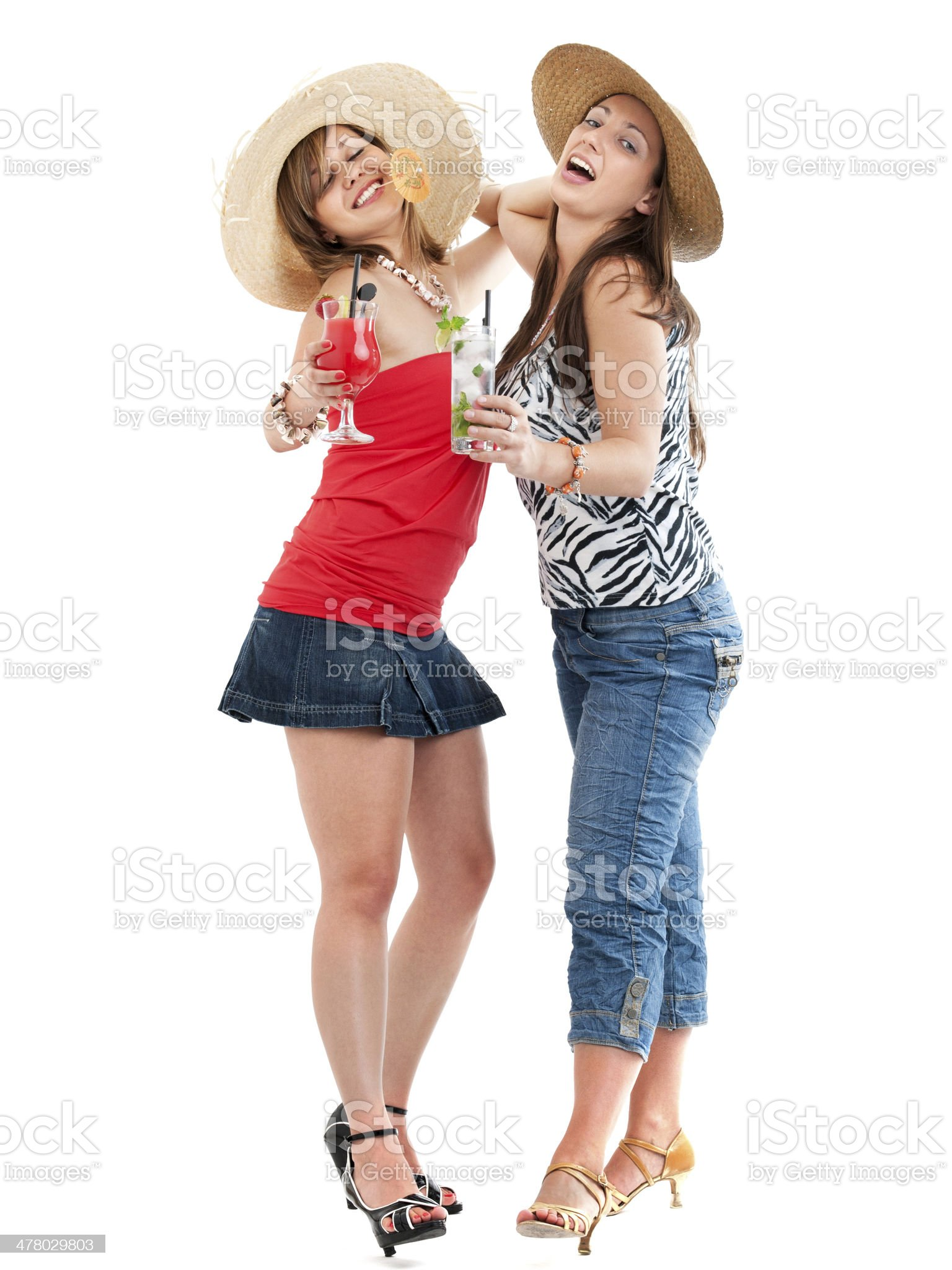 Girls with cocktails royalty-free stock photo