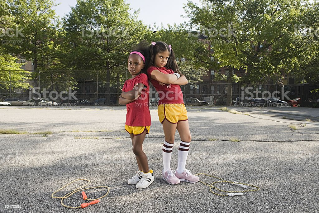 Girls with crossed arms royalty-free stock photo