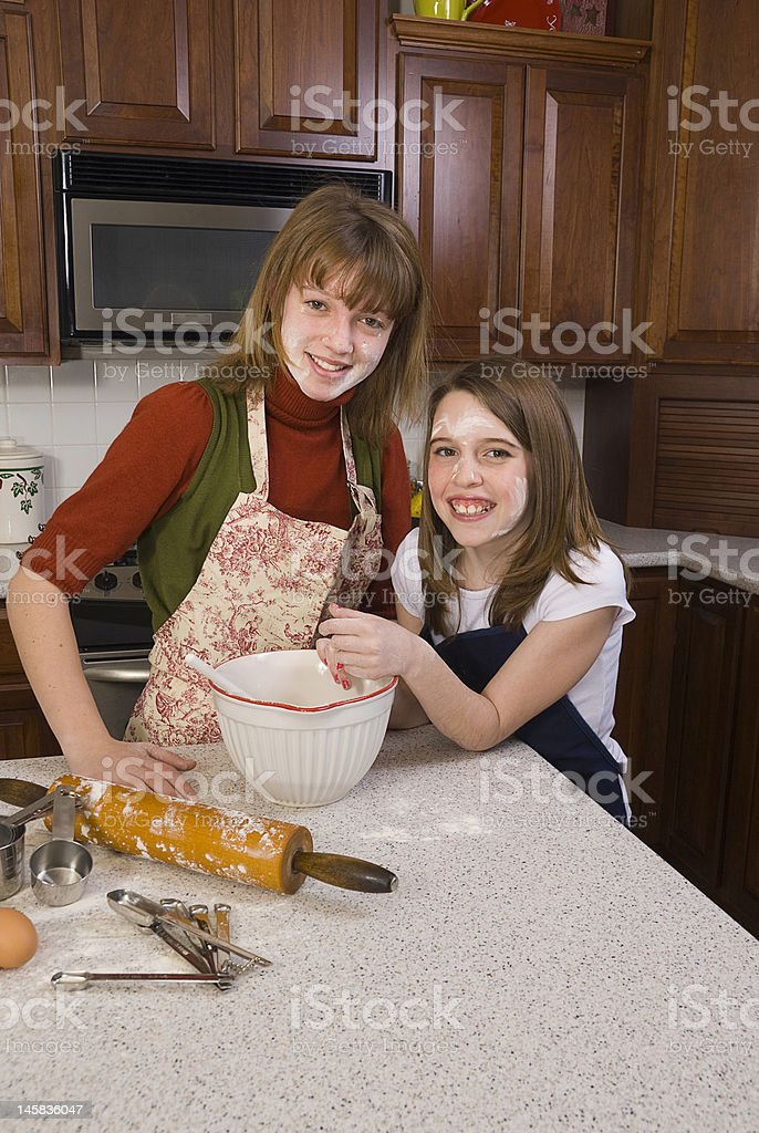 Girls with Flour on their Faces royalty-free stock photo