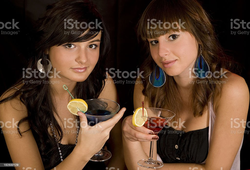 Girls with martini royalty-free stock photo
