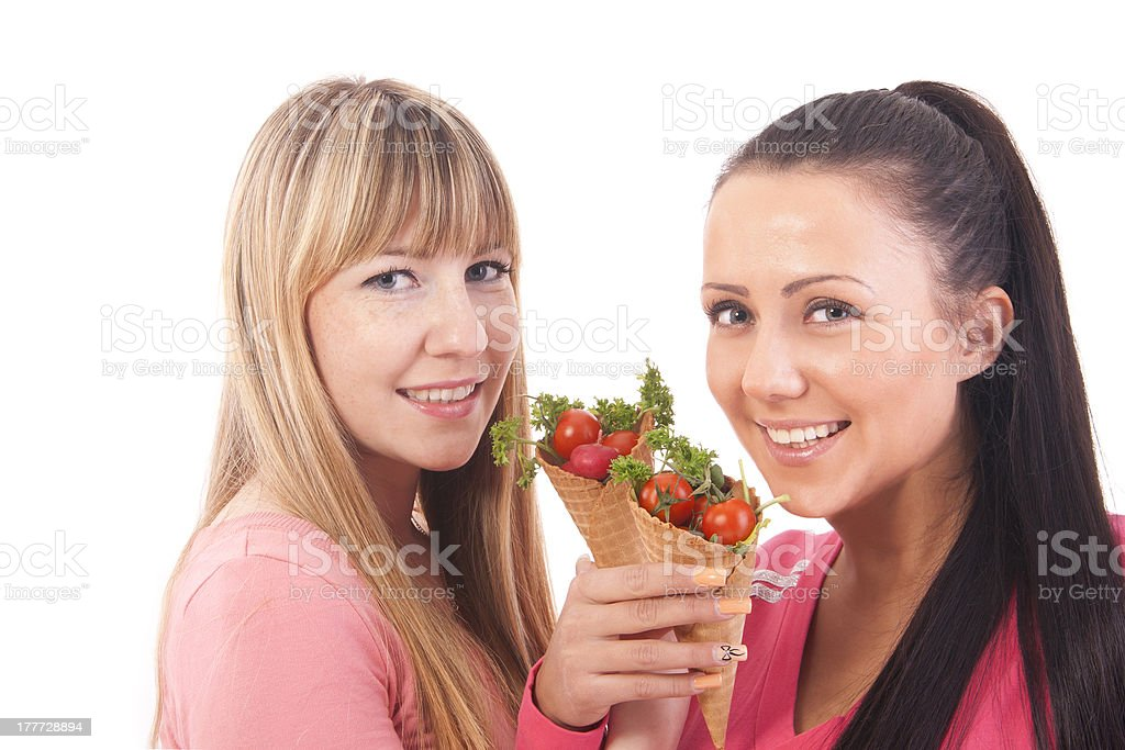 girls with salad royalty-free stock photo