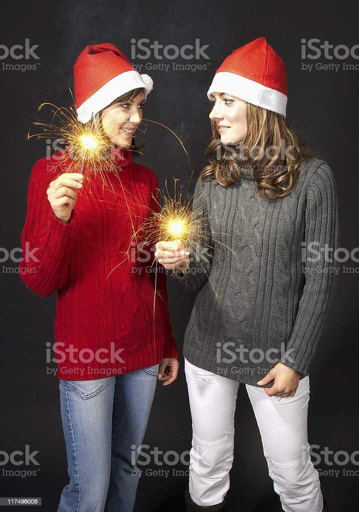 Girls with sparklers royalty-free stock photo