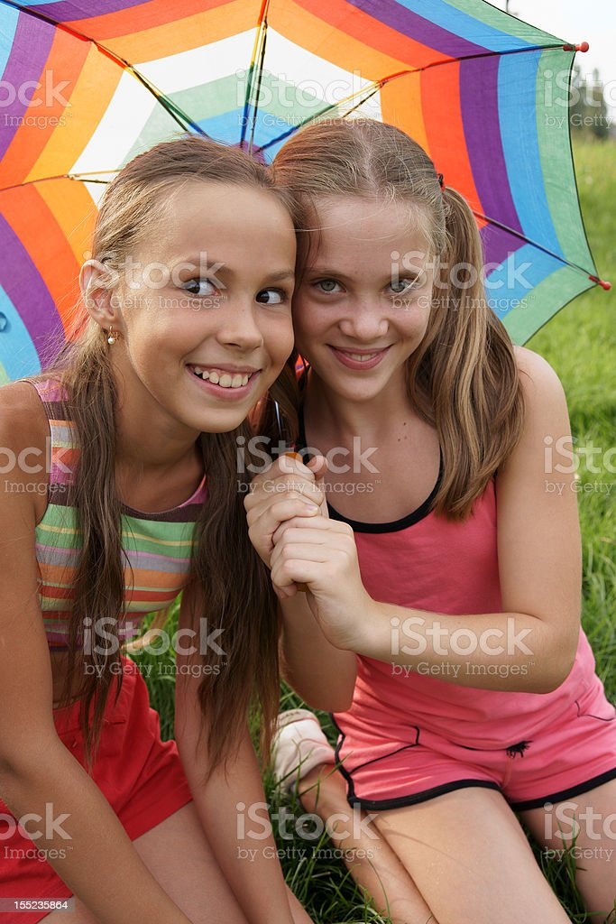 Girls with umbrella royalty-free stock photo
