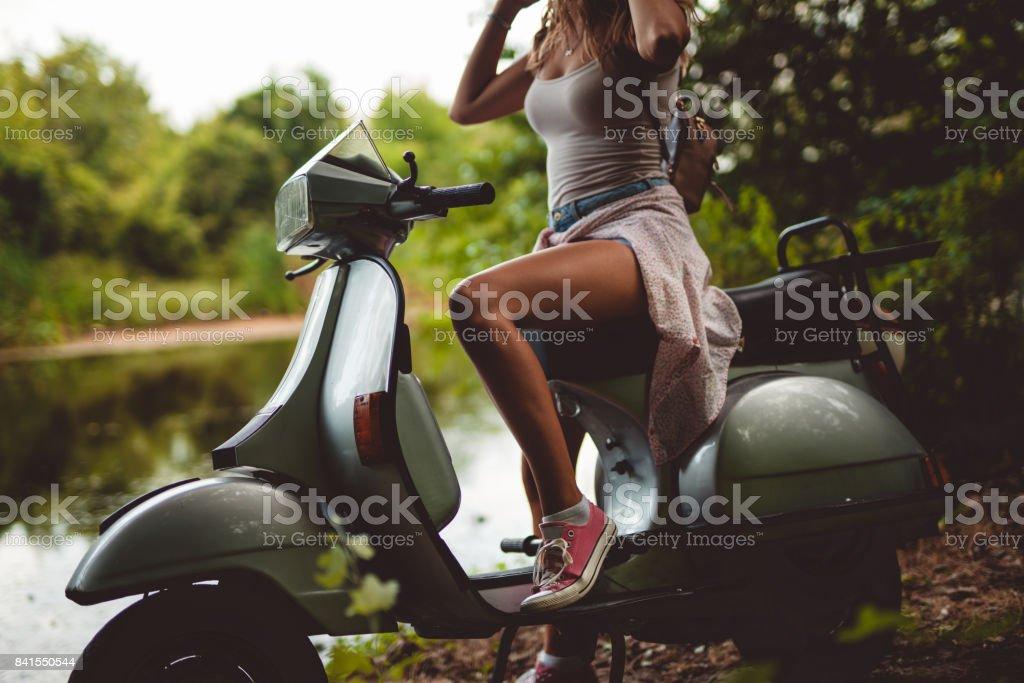 Girly biker stock photo
