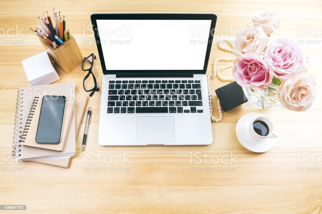 Girly workplace white screen stock photo
