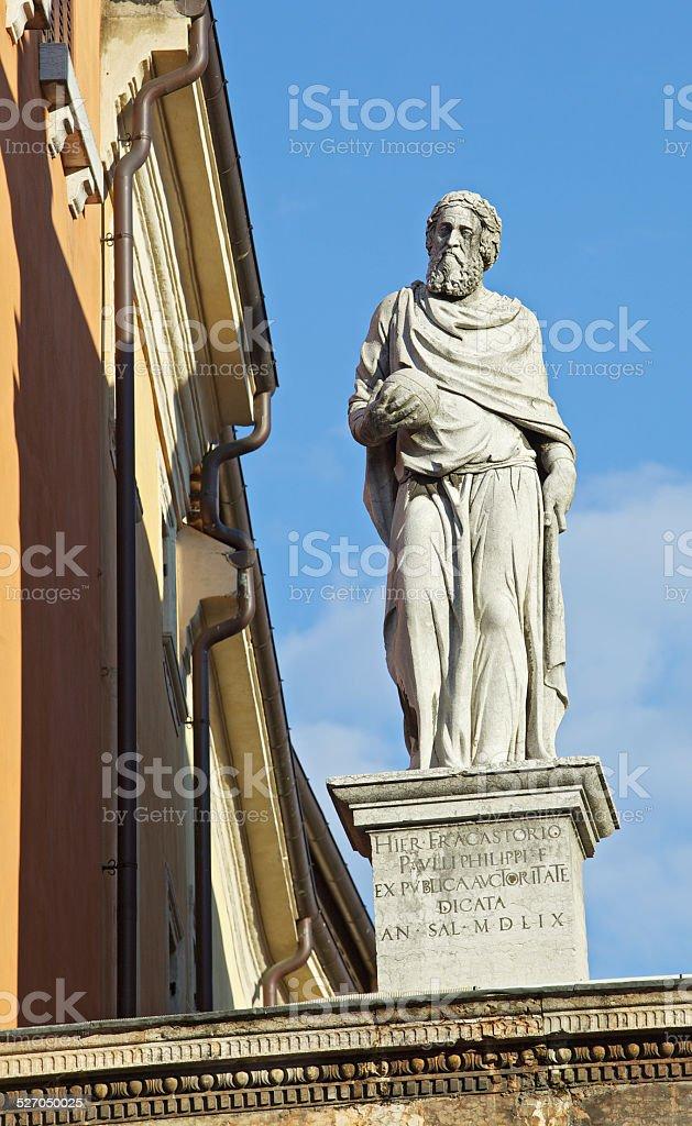 Girolamo Fracastoro statue in Square of Lords. Verona-Italy. stock photo
