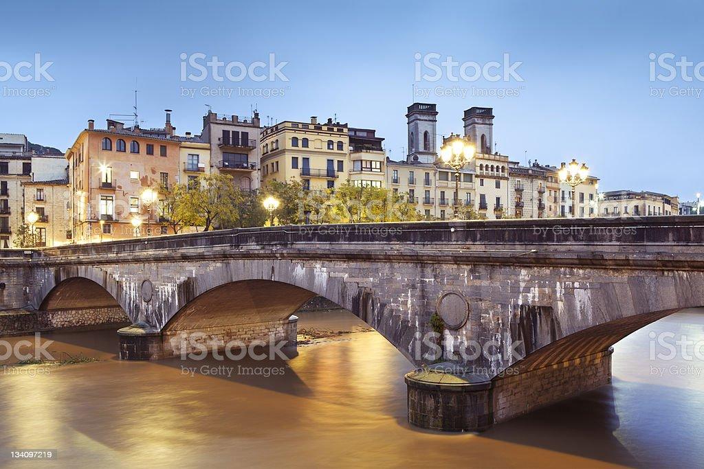 Girona and its Pont de Pedra stock photo