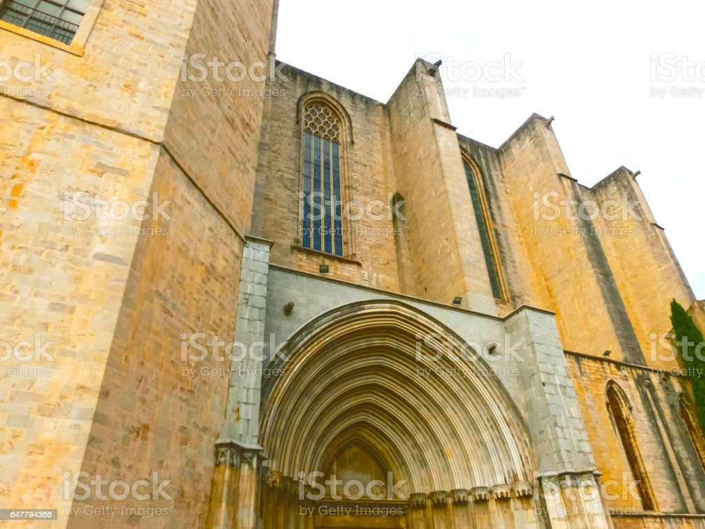 Girona Cathedral in Catalonia, Spain, Romanesque, Gothic and Baroque architecture stock photo
