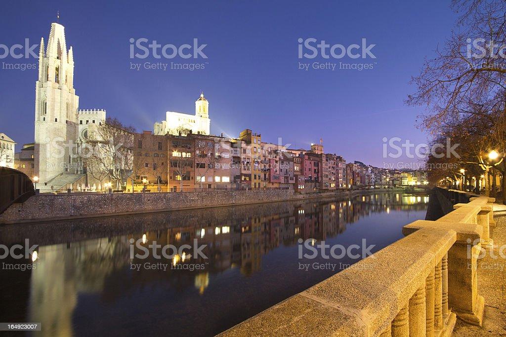 Girona City at night stock photo