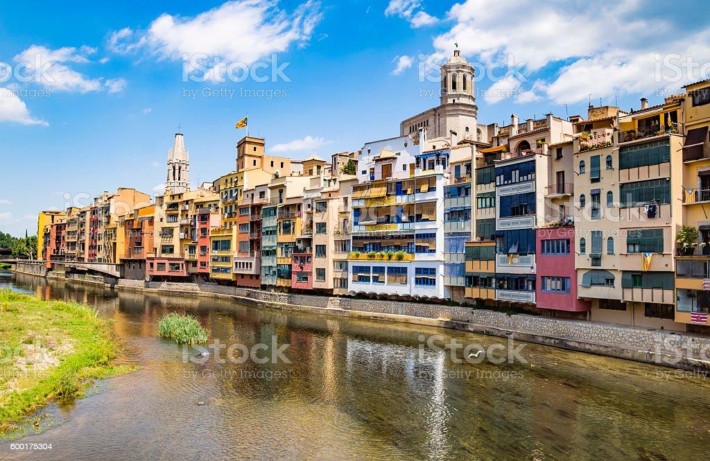Girona - Colorful houses stock photo